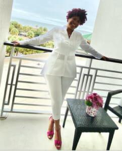 Black woman wearing white